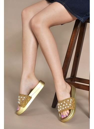 Vizon Ayakkabı Terlik Altın